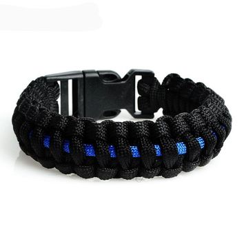 Police Support Blue Line Paracord Bracelet