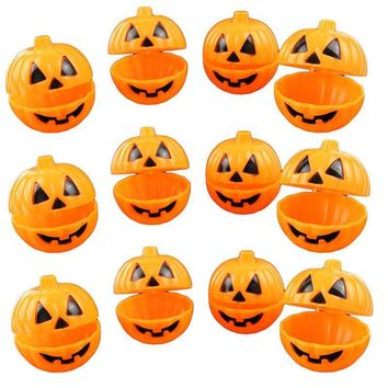 12pcs Plastic Pumpkin Shaped Storage Box Case Container Halloween Mini Gift Holder Props (Yellow)
