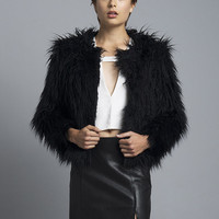 Black Crop Shag Fur Jacket