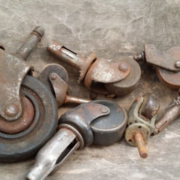 Set of 8 Random Vintage Rusty Metal and Wood Industrial Furniture Leg Casters Wheels Restoration Project Decor Altered Art Supply (1)