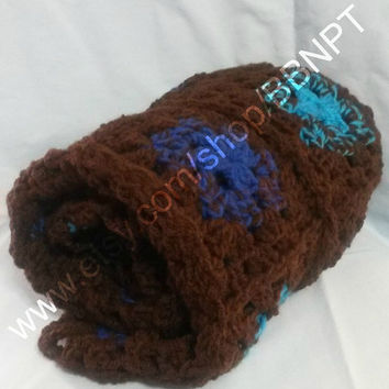 Blue and Brown Fade Baby Blanket ( shades, granny square, modern, clover, boy, soft, crochet)