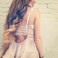 Lowpricenice Crop Tops Women Strap Blouse Vest Cut Out Shirt Summer Beach Tank