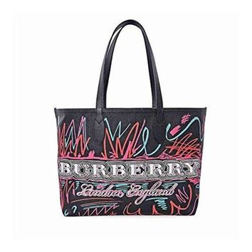 Burberry Women s Doodletote Check Reversible Canvas Tote Black 840d21b93dfa6