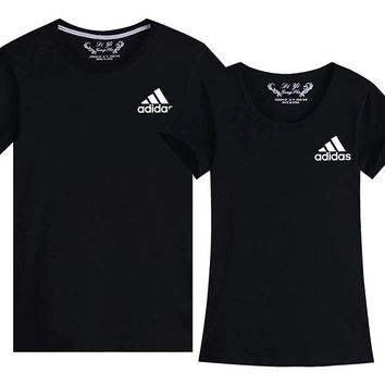 ADIDAS three-leaf clover brand men's and women's short sleeved couples wear sports casual T-shirt slim