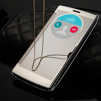 For LG G4 Case Luxury Transparent Mirror Window PU Leather Smart Flip Cover Case for LG G4 Phone Fundas Coque Capa