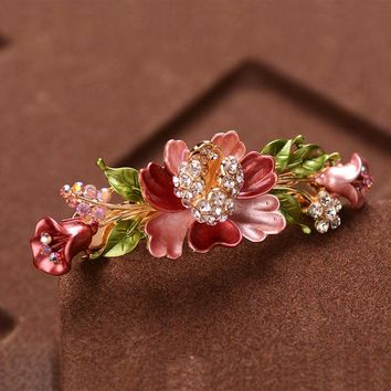 New Arrival Floral Rhinestone Hair Accessories Flower Hair Clip Barrettes For  Women