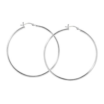 Sterling Silver Hoop Earrings High Polish Latch Closure 50mm - Two Inches