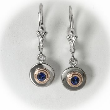 Sapphire- 14 karat white and rose gold earring