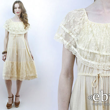 Beach Wedding Dress Hippie Wedding Dress Hippy Dress Boho Dress 1970s Dress 1970s Wedding Dress Cream Lace Dress Cotton Gauze Dress S M L