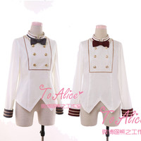 Royal School Series Women's Long Sleeve Blouse Bowknot Tie Double Breast Cute Lolita White Shirt Tops