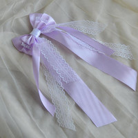 Hair bow - pastel lilac purple and white bow - fairy kei decora bow lolita harajuku romantic victorian princess bow kawaii costume bow