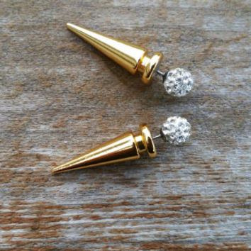 Gold & Rhinestone double sided spike earrings. Faux gauge. Gold spike