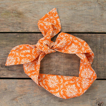 orange and cream damask headscarf  / tie up headband / adjustable / summer and fall fashion / knotted headband