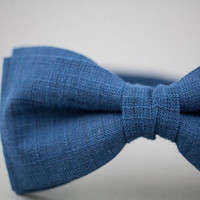 Blue Bow Tie Blue Linen Bow Tie Blue Pre Tied Bow Tie Adjustable Bow Tie Blue Gift for Men Blue Suit Bow Tie Gift for Men Mens Bow Ties