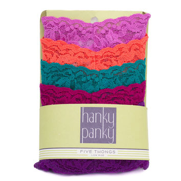 Hanky Panky Low Rise Lace Thong 5 Pack - Bright Variety