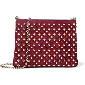 Christian Louboutin - Triloubi large embellished suede and leather shoulder bag