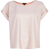 River Island Womens Pink metallic t-shirt