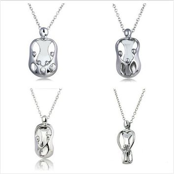 Trendy Silver color Mom And Child Love Heart Crystal Pendant Necklace For Women Mother Love Gift Jewelry