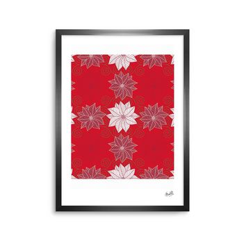 "julia grifol ""Christmas Time"" Red White Pattern Floral Vector Digital Framed Art Print"