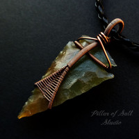 Wire wrapped Arrowhead necklace, Wire Wrapped jewelry handmade, mens necklace, rustic copper jewelry, woven wire jewelry, stone arrowhead
