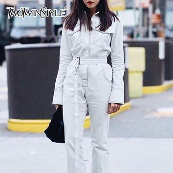 TWOTWINSTYLE Denim Women's Jumpsuit Slim Long Sleeve Patchwork Pocket With Sashes Calf Length Jumpsuits Streetwear Fashion
