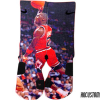 Michael jordan MVP Custom Nike Elite Socks ALL SIZES!!j