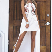 Want It All Ivory Floral Embroidered Maxi Dress