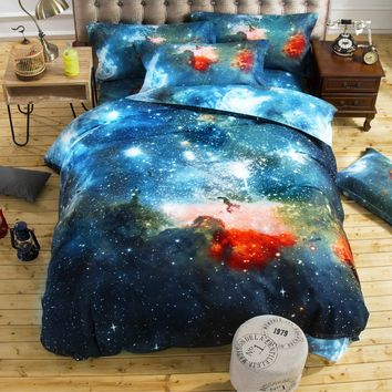 2016 New Arrive Duvet cover Bed Sheet 4pcs Galaxy 3D Bedding Sets Universe Outer Space Fitted Bed Sheet pillowcase Twin Queen