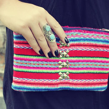 Studded Tribal Pouch, Pencil, Cosmetic Pouch, Bag, Hand Woven Fabric