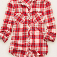 Aerie Women's Cozy Flannel Sleep Shirt (Red Velvet)