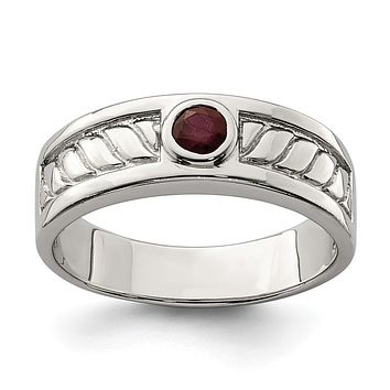Sterling Silver Men's Bezel Ruby Textured Band Ring