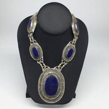 Turkmen Necklace Afghan Ethnic Tribal 5 Cab Lapis Lazuli Inlay Kuchi Necklace TN256