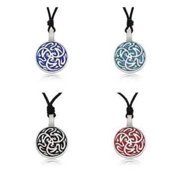 Tribal Celtic Silver Pewter Charm Necklace Pendant Jewelry With Cotton Cord