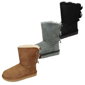 UGG BAILEY BOW II WOMENS TWINFACE SHEEPSKIN SUEDE BOOTS THREE COLOURS OPTIONS