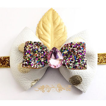 Girls White and Gold polka Dot Leather Sparkly Bow Headband / Baby Jeweled Headband / Glitter Headband / Spring Gold & white hair accessory