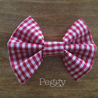 Red and White Gingham Hair Bow