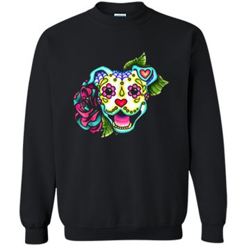 Smiling Pitbull in White - Day of the Dead Sugar Skull Dog Printed Crewneck Pullover Sweatshirt