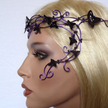 Purple vine circlet with purple leaves, womens, accessories, headband, handmade