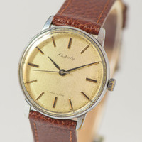 Minimalist men's wrist watch Rocket micro ornament face silver straw brown shades watch premium leather strap new