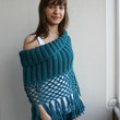 Free SHIPPING Teal Knit Poncho Capelet Mothers  Day Gift under75