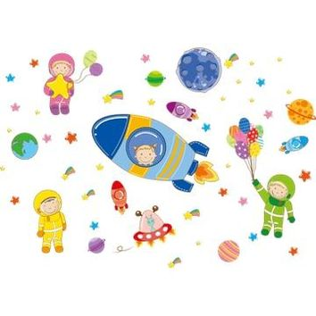 [SHIJUEHEZI] Cartoon Astronauts Outer Space Planet Wall Stickers DIY Children Stickers for Kids Rooms Kindergarten Decoration