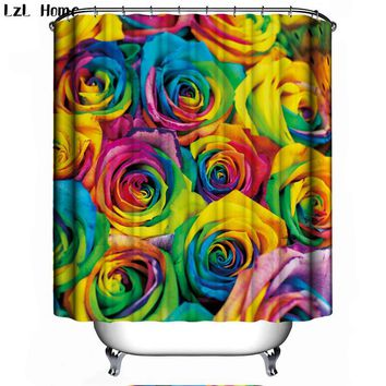 Funny Rose flower Bath Curtain For Bathroom Modern Creative Waterproof Fabric Christmas Shower Curtain 3d Hook Home Decoration