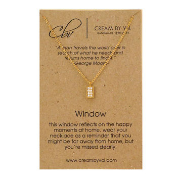 Gold Window Necklace-Missing Home Remembrance Gift Ideas Away From Home Necklace 18th Birthday Gift For Teenager Happy Memory Gift Surprise