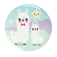 Alpaca Friends Button Mirror