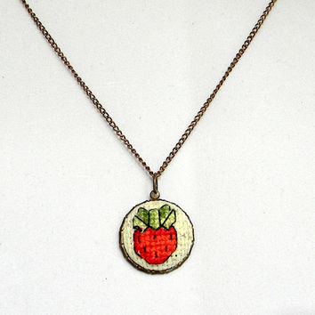 Cross Stitch Charm Necklace, Strawberry Charm,  Pendant, jewelry charm cross stitch