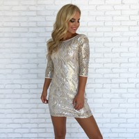 Strike A Match Sequin Mini Dress In Gold