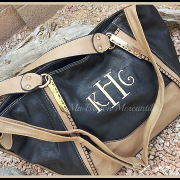 Monogrammed Black Hobo Handbag - 2 Tone Black Taupe - Personalized Purse - Faux Leather Pocketbook - Shoulder Tote - Monogram Satchel