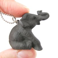 Elephant Porcelain Ceramic Animal Pendant Necklace in Sitting Pose | Handmade
