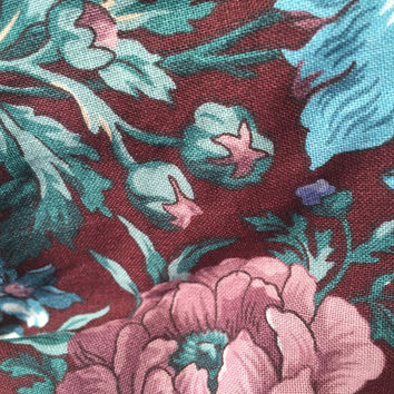 Destash Cotton Fabric Burgundy Floral