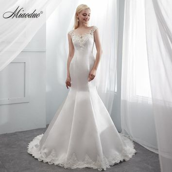 Miaoduo Robe De Mariee 2019 Newest Scoop Mermaid Wedding Dresses Cap Sleeve Bridal Gowns Satin Long Dress With Appliques Beads